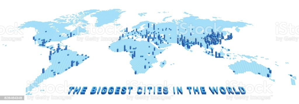Vector world map stylized using hexagons with the biggest cities. 3d infographic illustration. vector art illustration