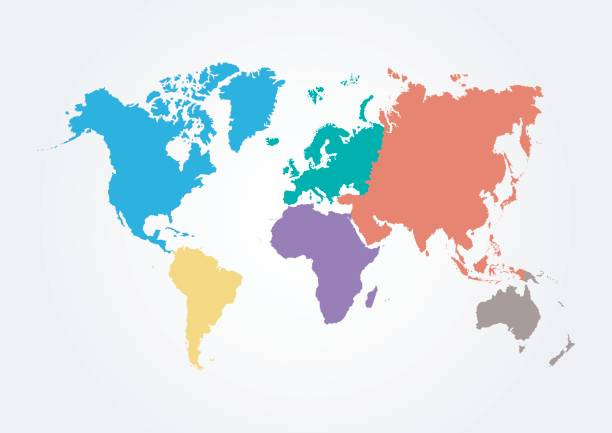 Vector World map with continent in different color ( flat design ) vector art illustration