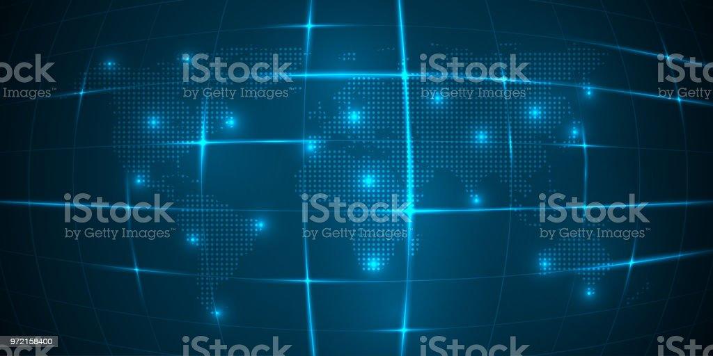 Carte Du Monde Lumineuse.Carte Du Monde Avec Le Continent Sur Un Fond Bleu Avec Une Grille Lumineuse Vector Vecteurs Libres De Droits Et Plus D Images Vectorielles De Abstrait