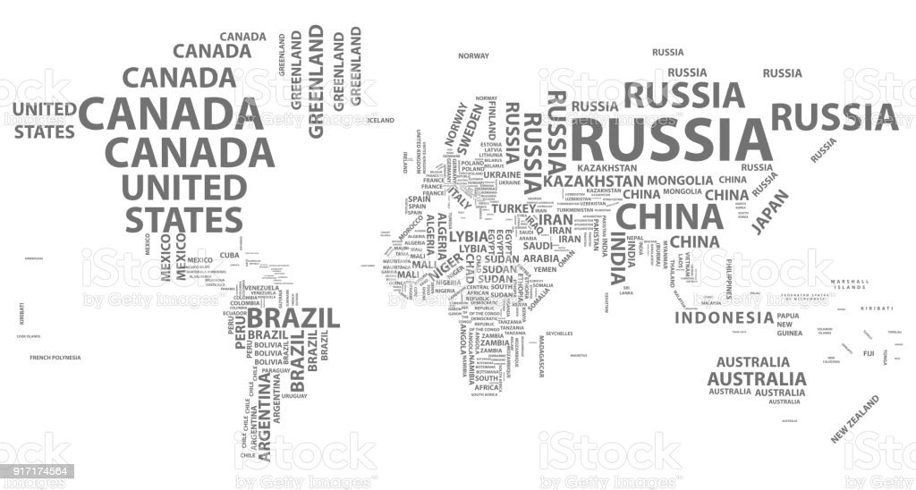 Vector world map with country names in typography stock vector art vector world map with country names in typography royalty free vector world map with country gumiabroncs Image collections