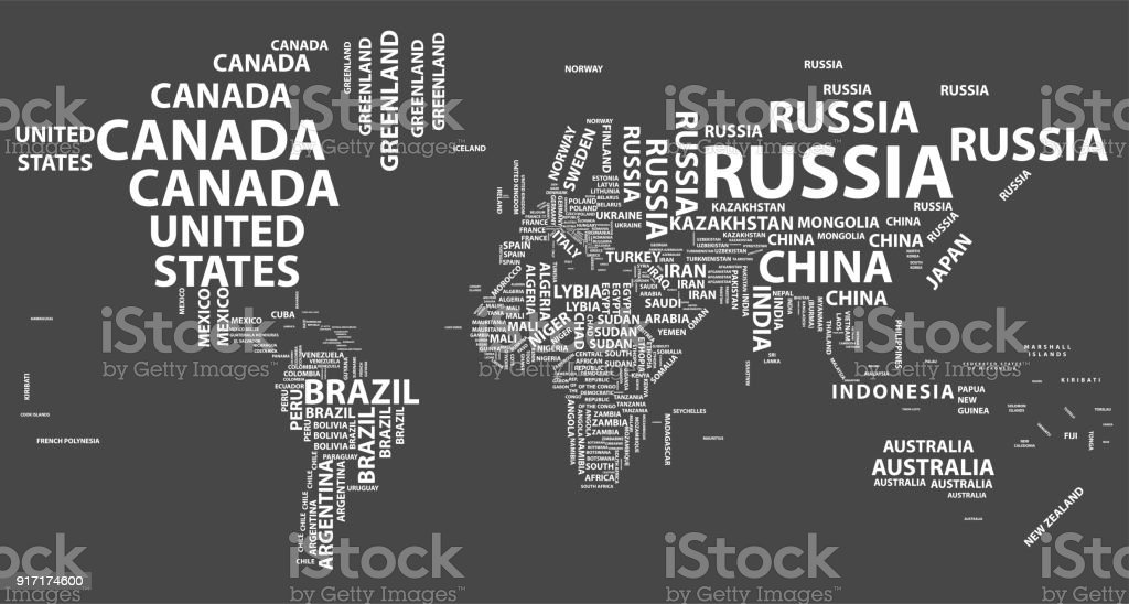 Vector World Map With Country Names In Typography Stock Illustration -  Download Image Now