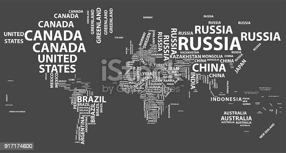Vector World Map With Country Names In Typography Stock Vector Art