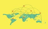 Vector world Map with global airline isolated on white Background