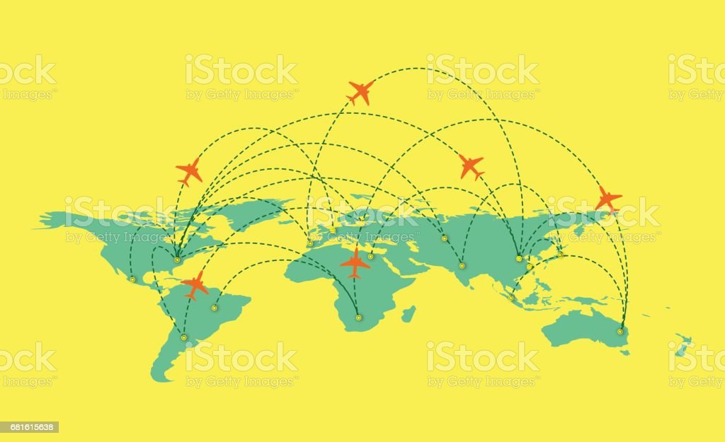 Vector world Map with global airline isolated on white Background vector art illustration