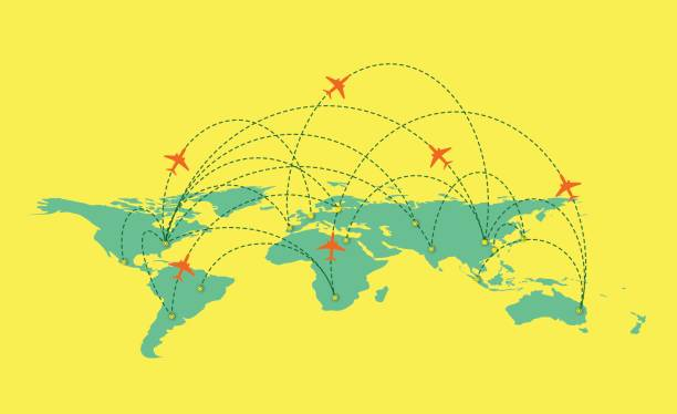 vector world map with global airline isolated on white background - africa travel stock illustrations, clip art, cartoons, & icons