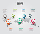Vector world map with pointer marks. Business template for presentation. Creative concept for infographic.