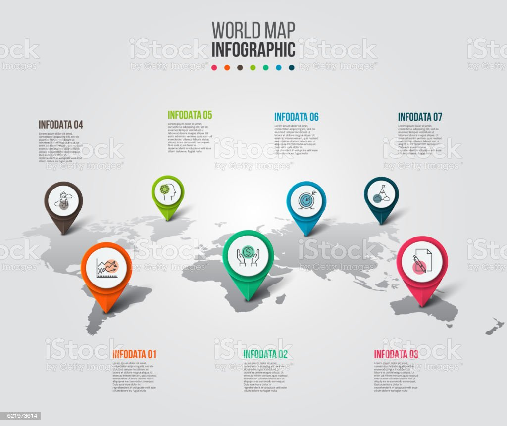 Vector world map with pointer marks. vector art illustration