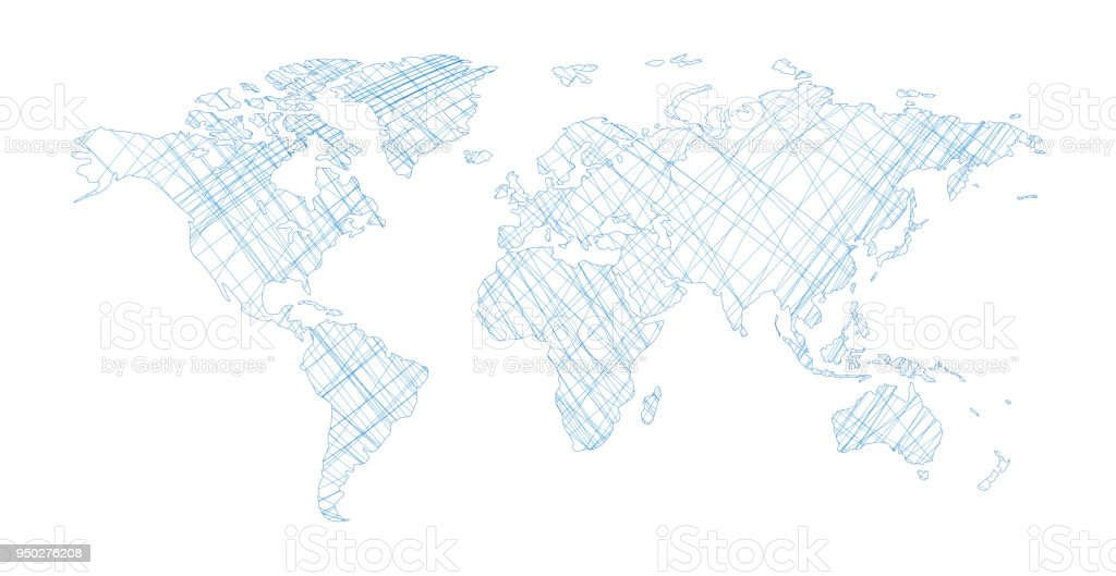 Vector world map with single line isolated on white background vector art illustration
