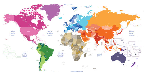 vector world political map colored by continents with country and geographical objects names vector world political map colored by continents with country and geographical objects names greenland stock illustrations