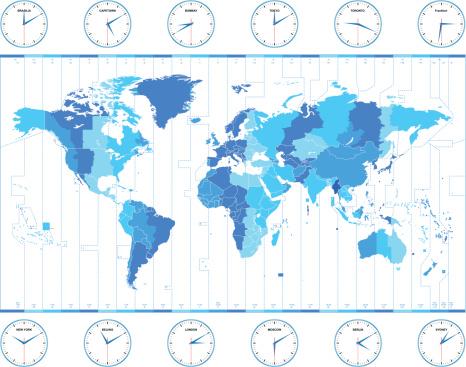 Vector world time zones