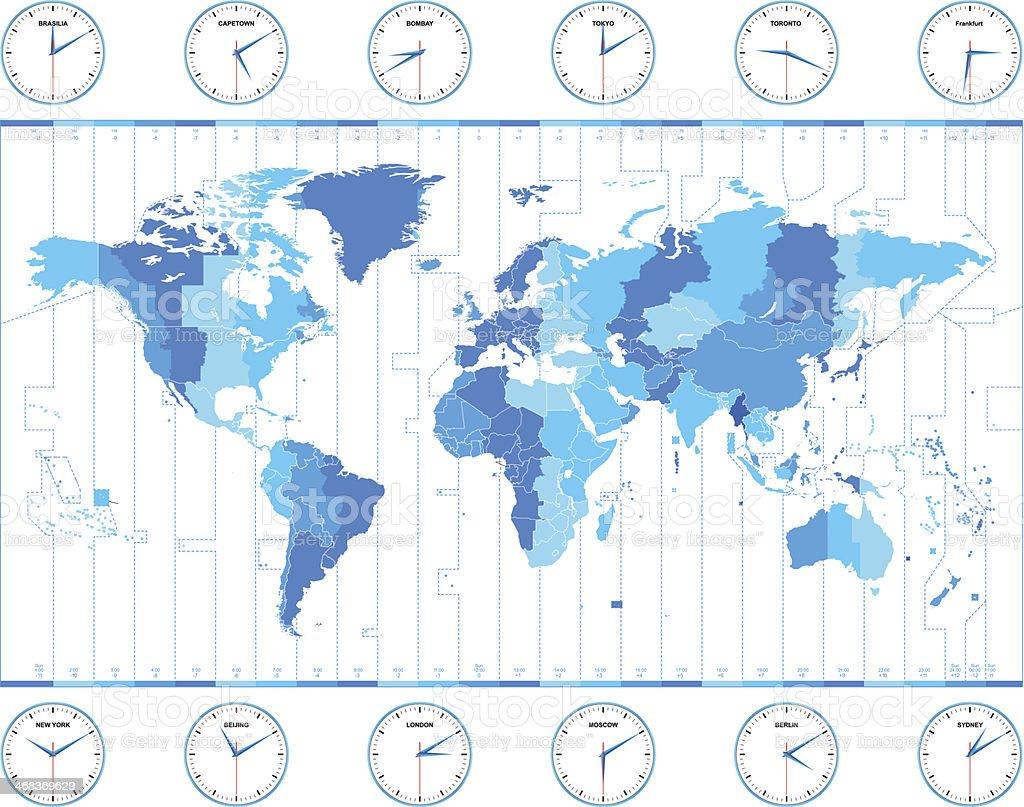 Vector world time zones vector art illustration