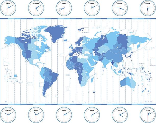 bildbanksillustrationer, clip art samt tecknat material och ikoner med vector world time zones - tidszon