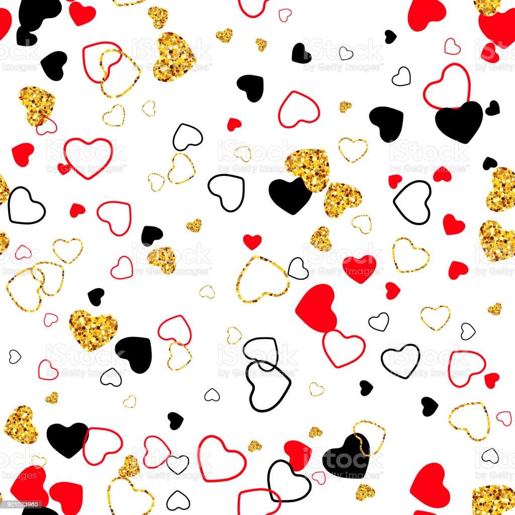 Vektor Verpackung Nahtlose Vorlage Mit Goldenen Glitzer, Linie, Farbe Herz.  Moderne Valentinstag,