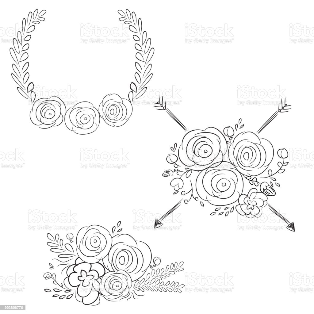 Vector wreaths and laurel wreaths. Round flower vector frames. Hand drawn design elements set. - Royalty-free Berry stock vector