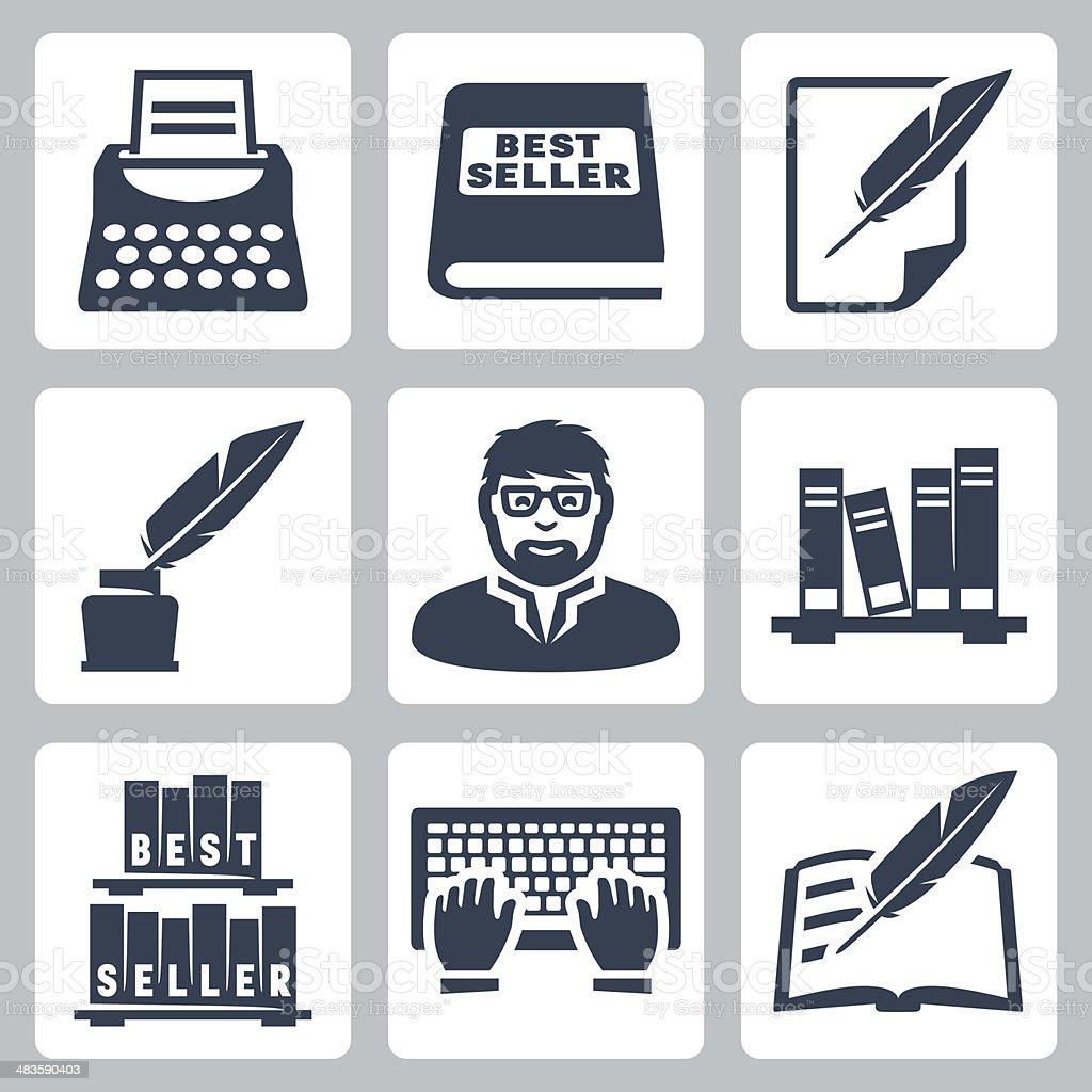 Vector writer icons set vector art illustration