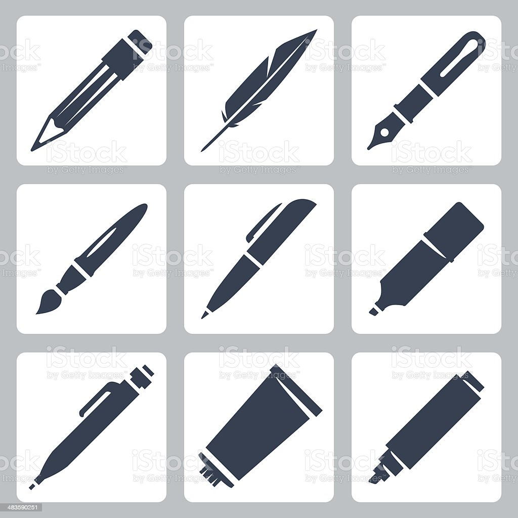Vector writing and painting tools icons set