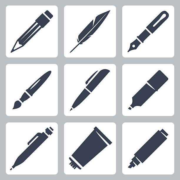 Vector writing and painting tools icons set vector art illustration