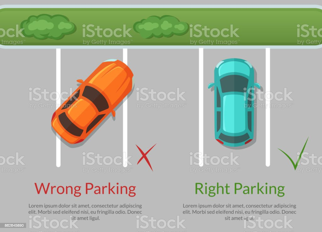 Vector wrong and right parking cars on the parking lot top view illustration vector art illustration