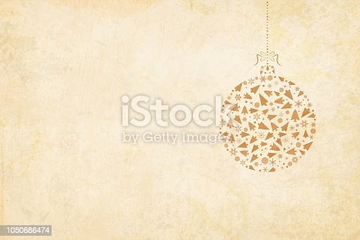 Grunge Vector Xmas background illustration. Vector Xmas background. Beige vintage paper with a suspended christmas bauble to the right in the frame. The bauble is hanging by a ribbon tied into a bow on the top. The bauble is made up  of christmas decoration items like X'Mas tree, snowflakes, balls, cones.  Ample copy space. Apt Christmas light coloured background in neutral earthy tone. Can also be used in gift wrapping sheets.