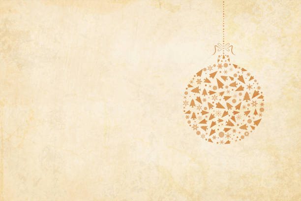 illustrazioni stock, clip art, cartoni animati e icone di tendenza di vector xmas background. beige vintage paper with a suspended christmas bauble to the right in the frame. the bauble is hanging by a ribbon tied into a bow on the top. - beige