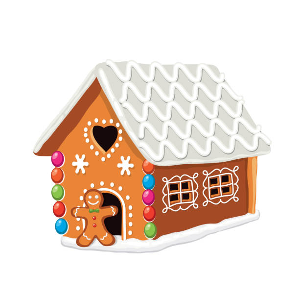 vector xmas colorful gingerbread house vector xmas colorful gingerbread house with sugar icing decoration and gingerbread cookie man. christmas holiday food background. sweet ginger bread dessert. eps10. Contains transparent objects decorating a cake stock illustrations