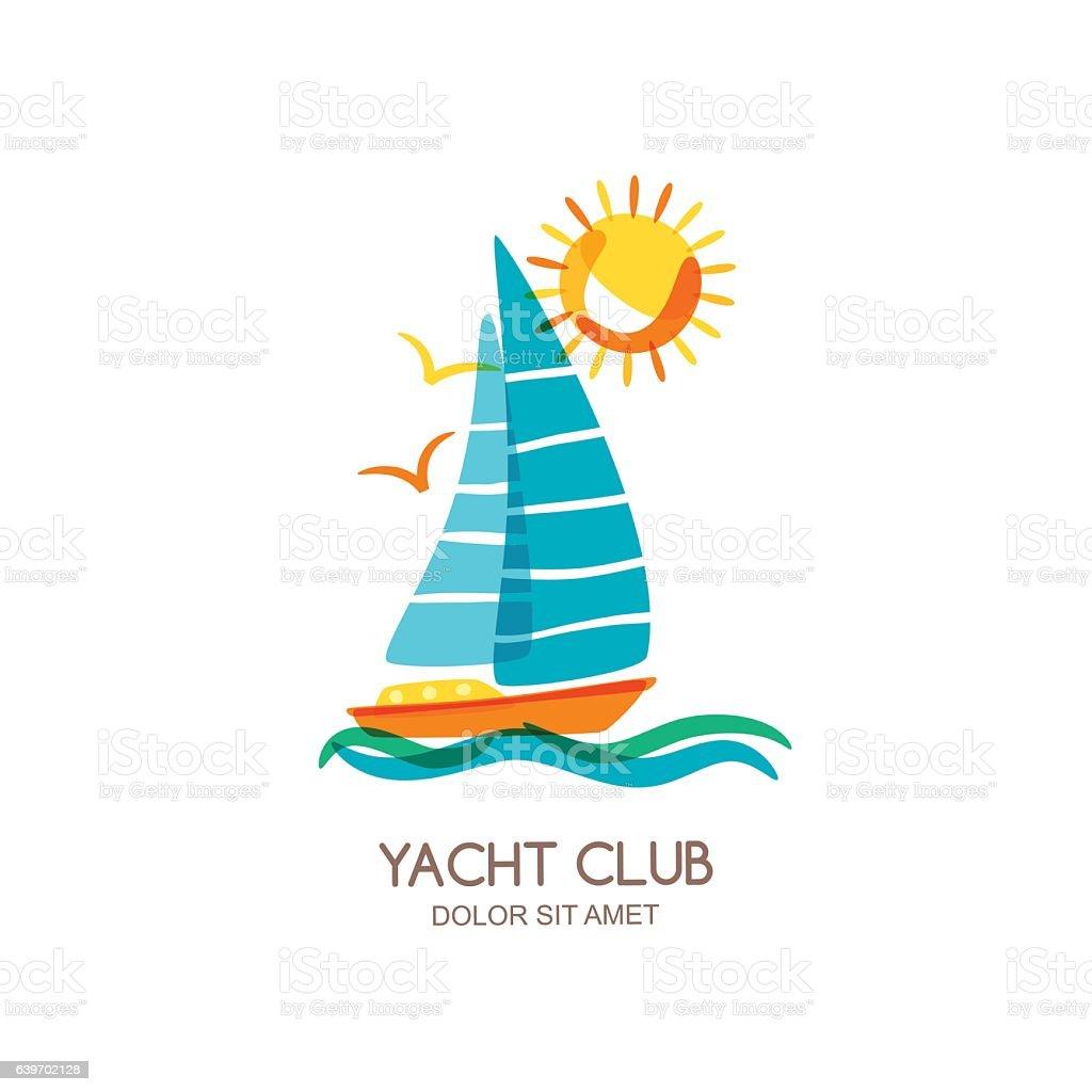 Vector yacht club design. Sailing boat in the sea. vector art illustration