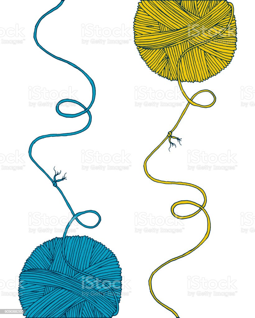 Vector yarn balls set with long thread and knot. Hand drawn illustration for knitting and crochet classes projects, brochure, poster or cover vector art illustration