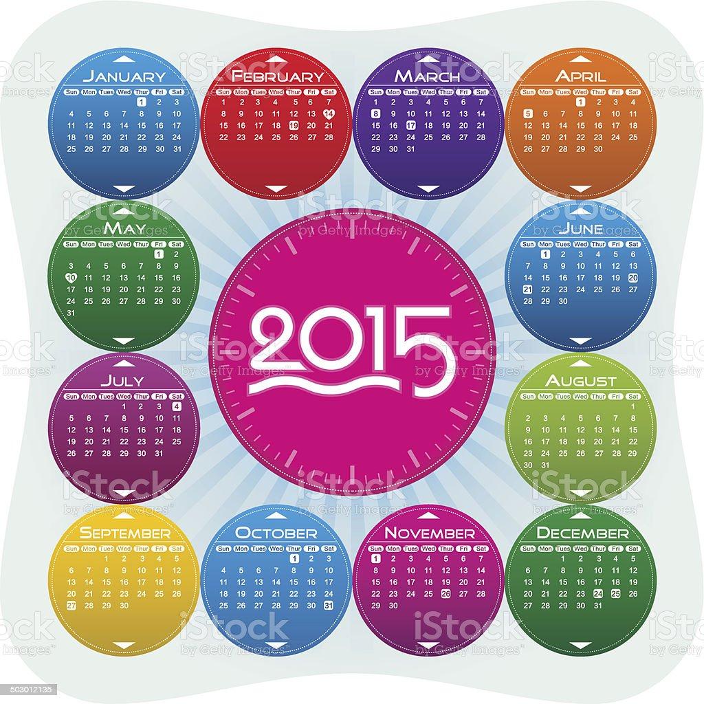 Vector Year of 2015 Calendar vector art illustration