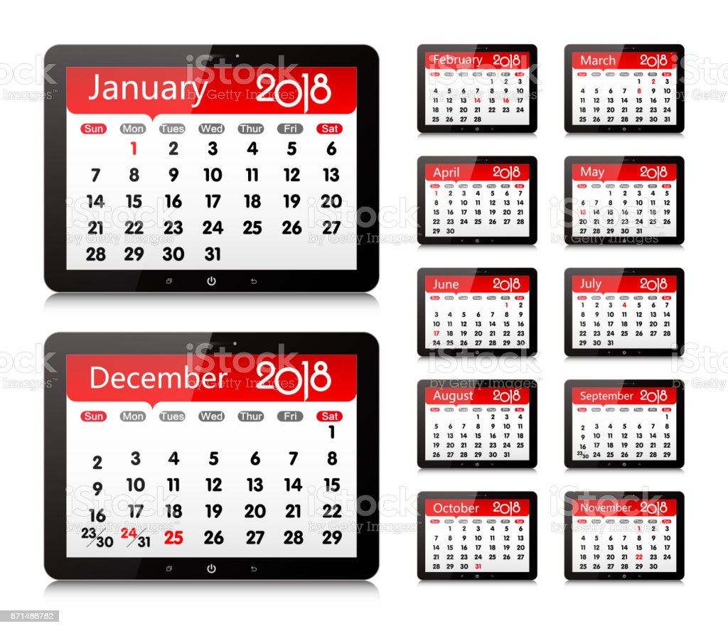 Vector Year of 2018 Calendar in Digital Tablet PC Isolated vector art illustration