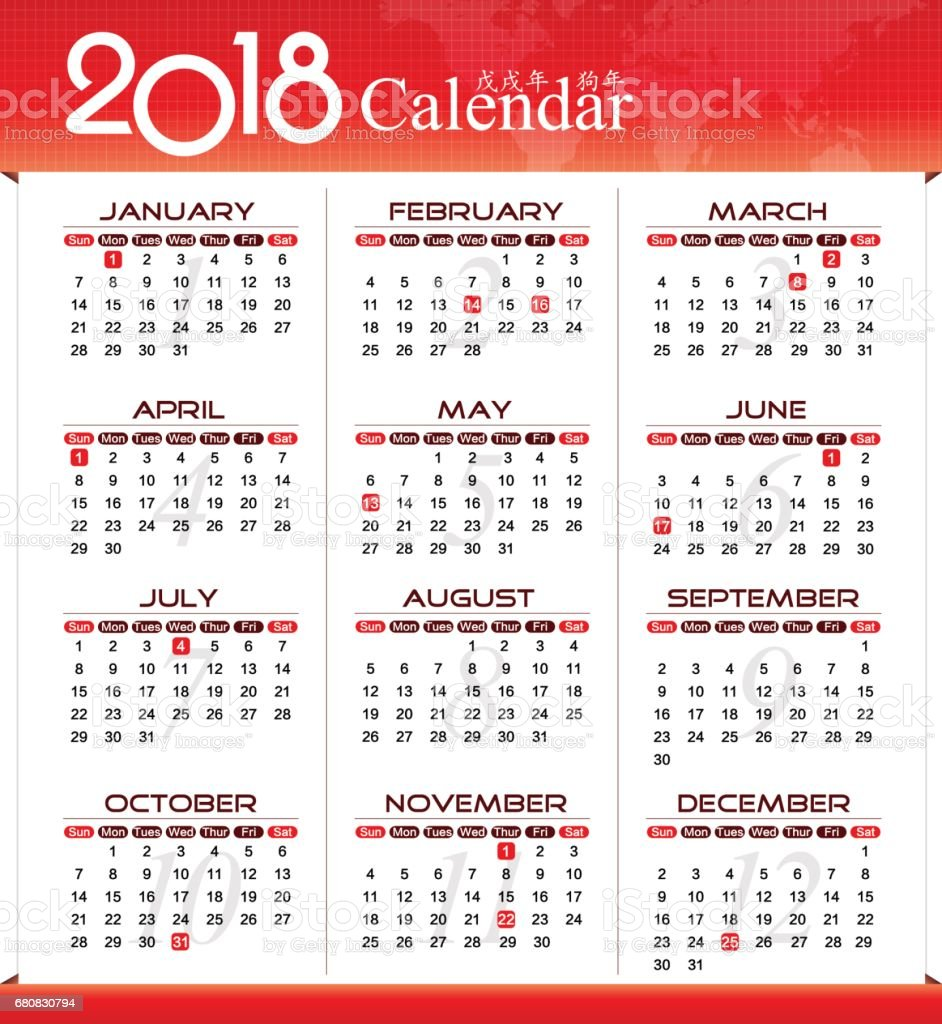 Vector Year Of 2018 Calendar Stock Vector Art & More Images of