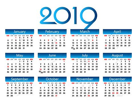 Vector Year of 2019 Calendar