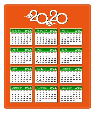 Vector Year of 2020 Calendar