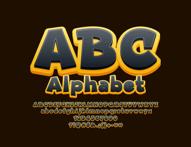 Vector Yellow and Black Alphabet vector art illustration