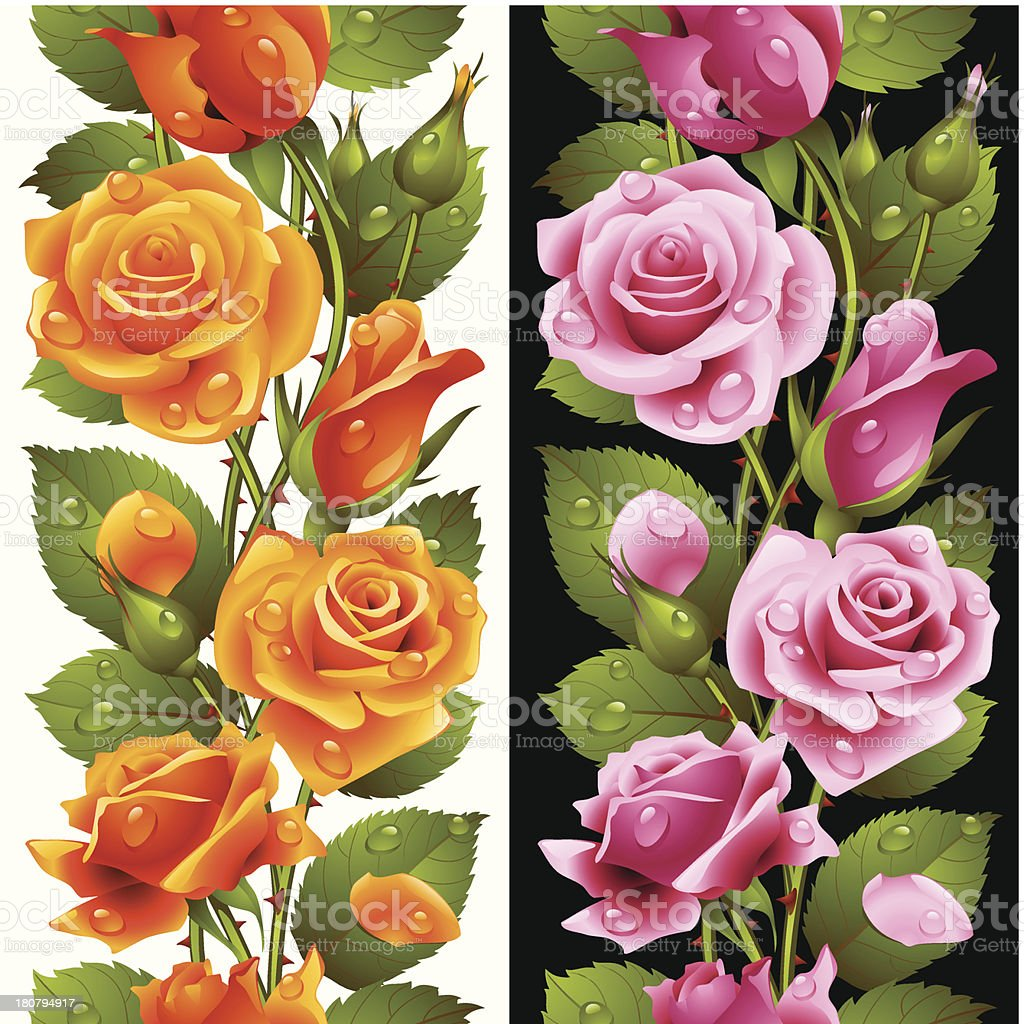 Vector yellow and pink rose vertical seamless pattern royalty-free stock vector art