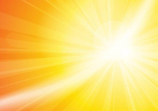 Vector : Yellow and white sun shining vector art illustration