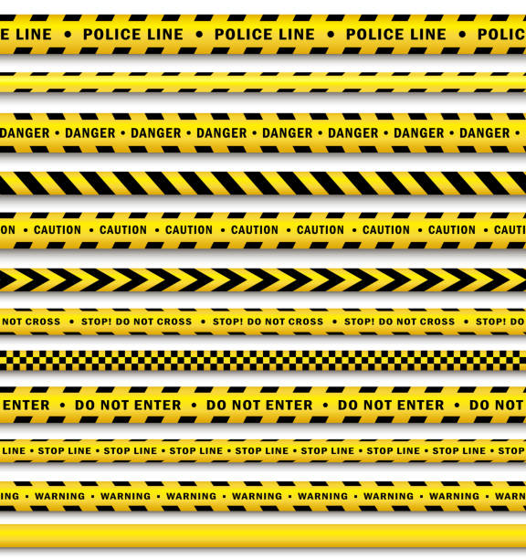 vector yellow black police tape set isolated vector yellow black police tape set. Flat cartoon isolated illustration on a white background. Yellow danger tape with black stripes enclosing for forencics, investigators. crime scene stock illustrations