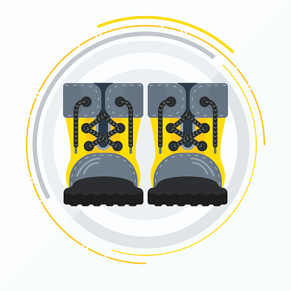 vector yellow boots front