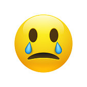Vector yellow crying emoticon with opened eyes