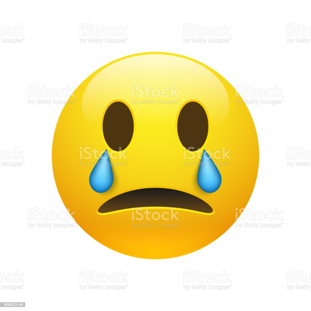 Vector yellow crying emoticon with opened eyes vector art illustration