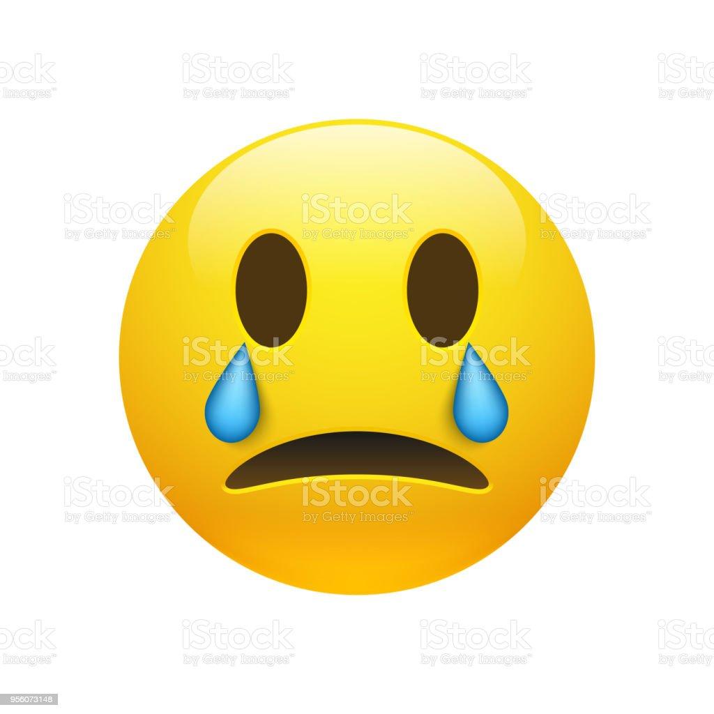 Amarelo de vetor chorando emoticon com olhos abertos - ilustração de arte em vetor