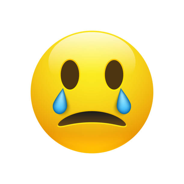 vector yellow crying emoticon with opened eyes - tears of joy emoji stock illustrations