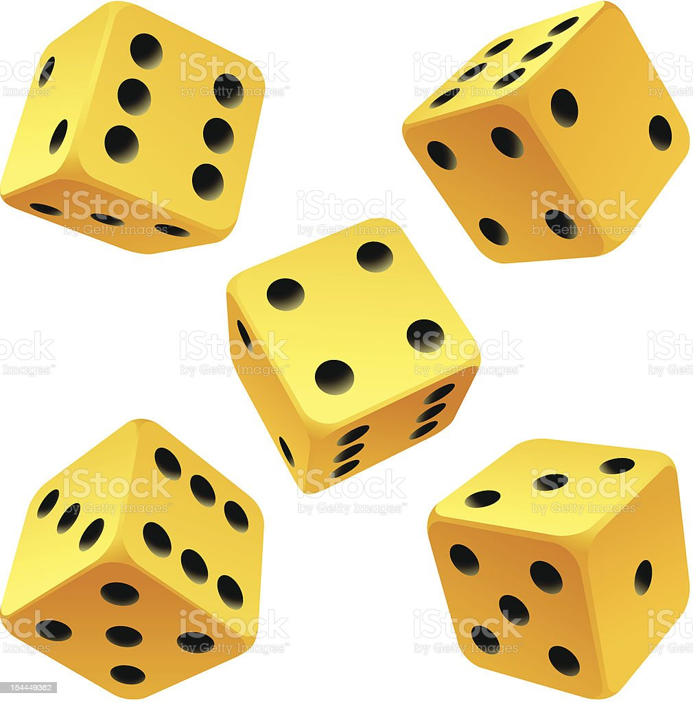Vector yellow dice set on white background royalty-free vector yellow dice set on white background stock vector art & more images of board game