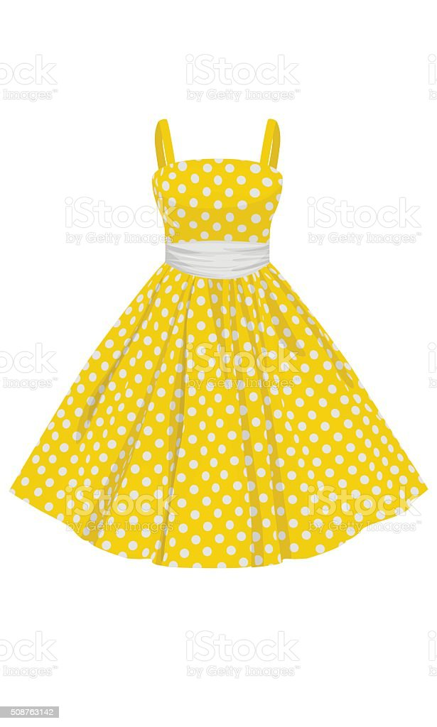 Vector yellow dress with white polka dots vector art illustration