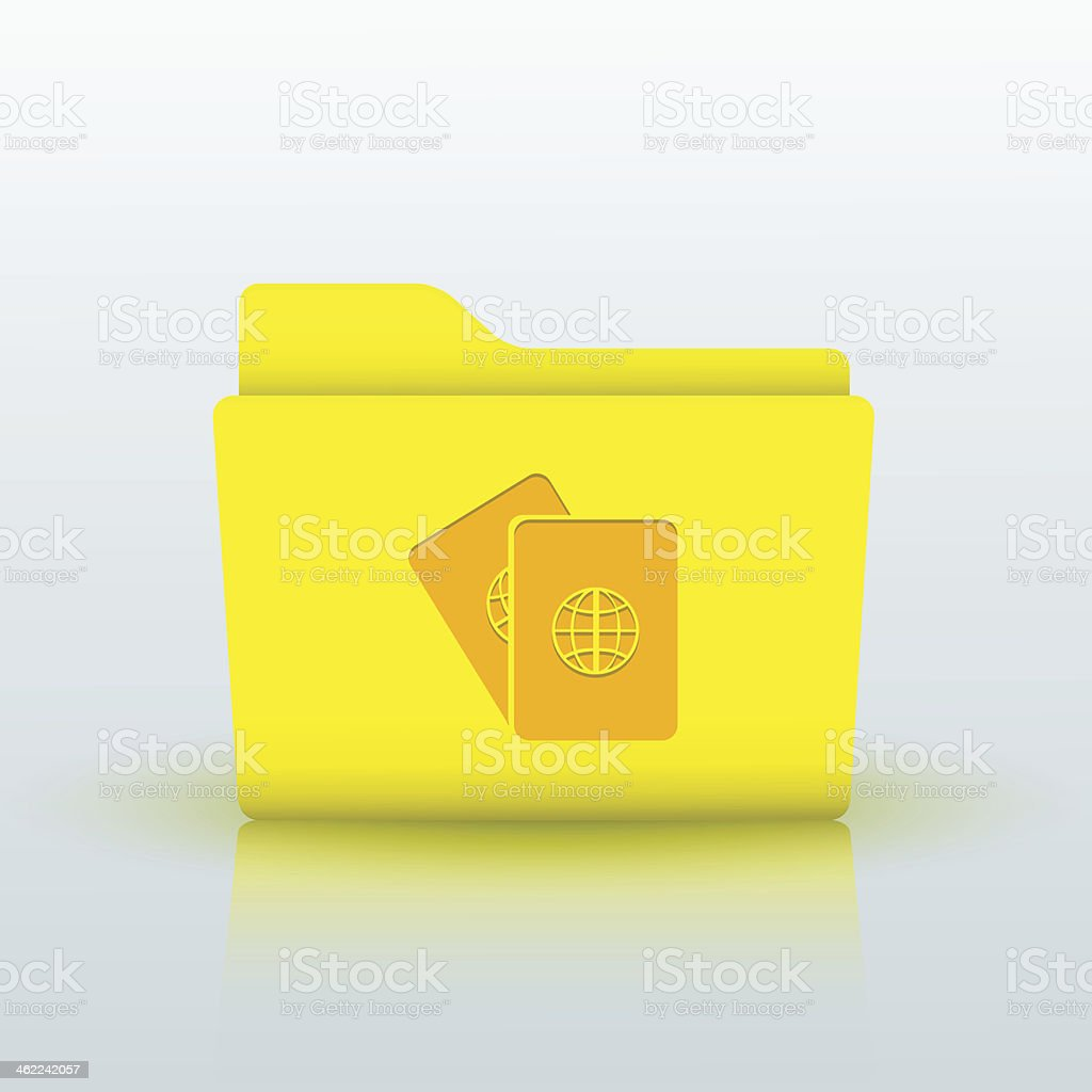 Vector yellow folder on blue background. Eps10 royalty-free stock vector art