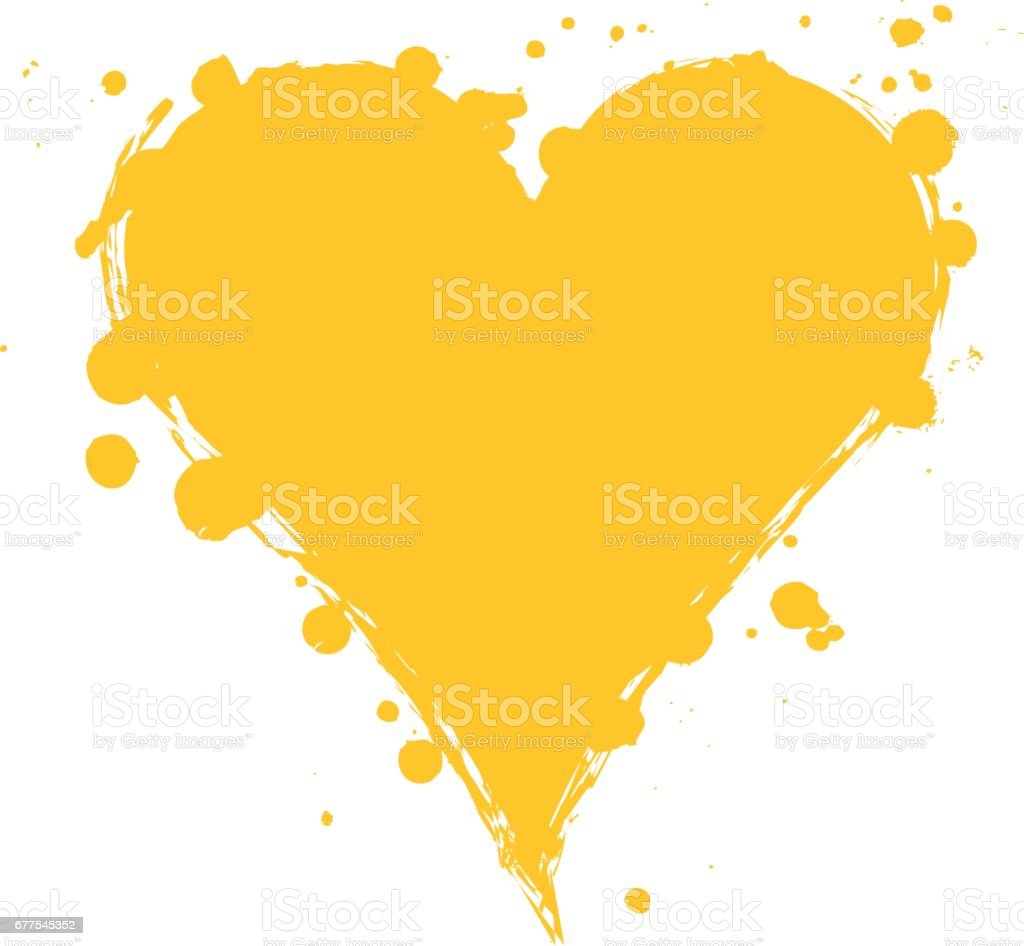 Vector yellow graphic grunge illustration of heart sign with ink blot, brush strokes, drops isolated on the white background. Series of artistic illustration with splash, blots and brush strokes. royalty-free vector yellow graphic grunge illustration of heart sign with ink blot brush strokes drops isolated on the white background series of artistic illustration with splash blots and brush strokes stock vector art & more images of art