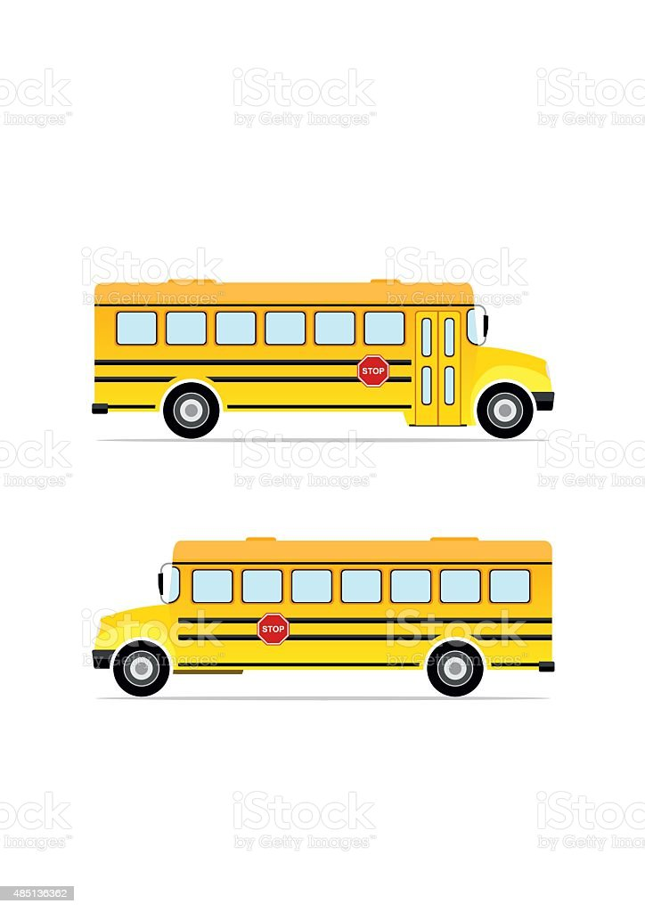 Vector yellow school bus. vector art illustration