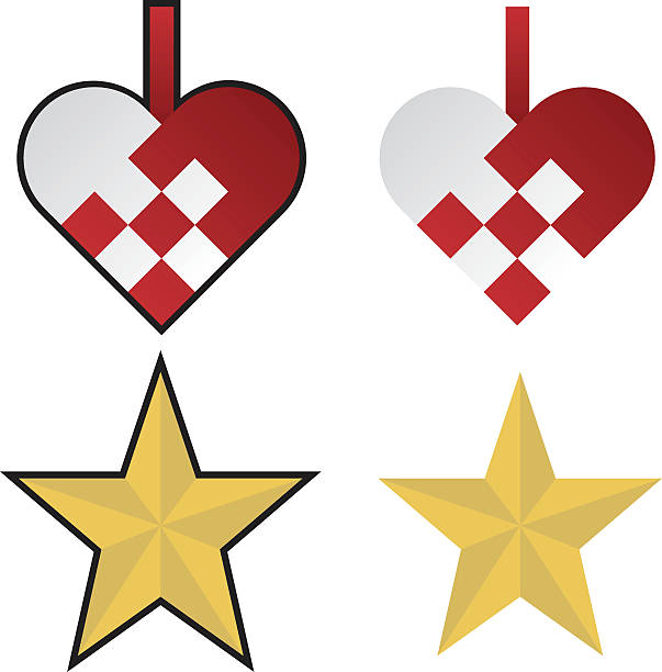 Vector yellow stars and red hearts Christmas ornaments vector art illustration