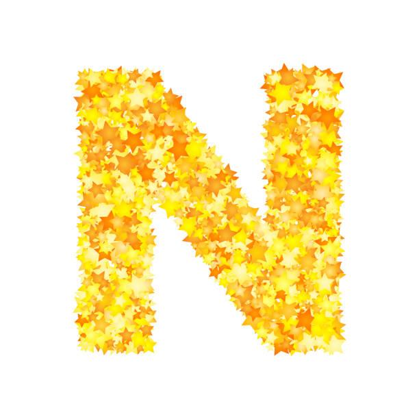 Royalty Free Alphabet N Design Letter On Gold Metal Texture Clip Art