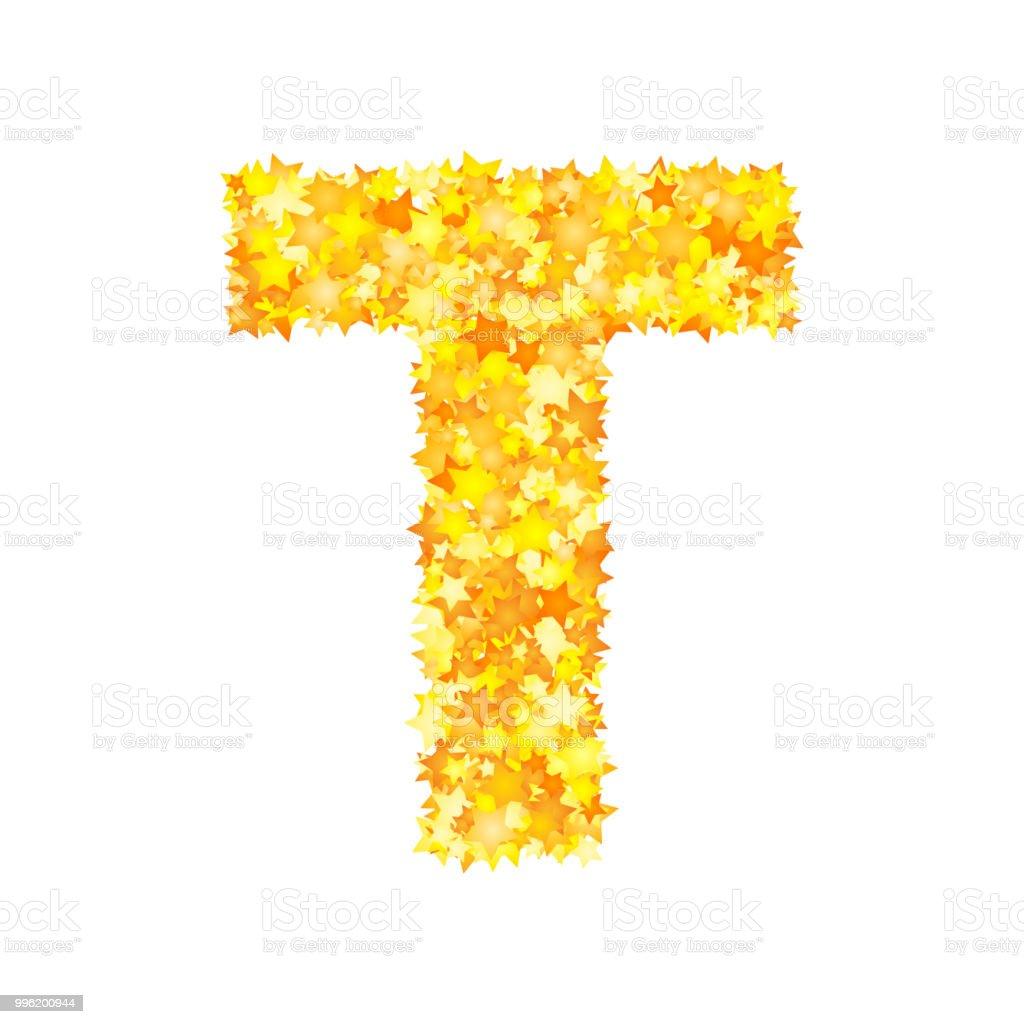 Vector Yellow Stars Font Letter T Stock Illustration
