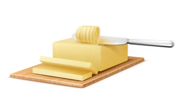 ilustrações de stock, clip art, desenhos animados e ícones de vector yellow stick of butter with metal knife - manteiga